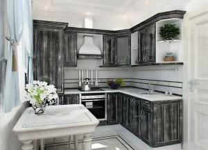 Кухня с фасадом Патина-007
