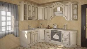Кухня с фасадом Патина-008